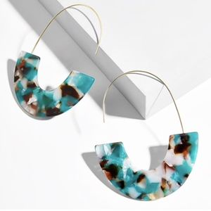 Acrylic Tortoise Shell Resin Dangle Earrings